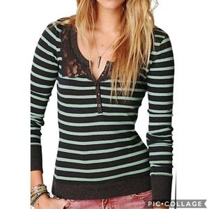 GUC Free People Grandpa Striped Lace Henley Top